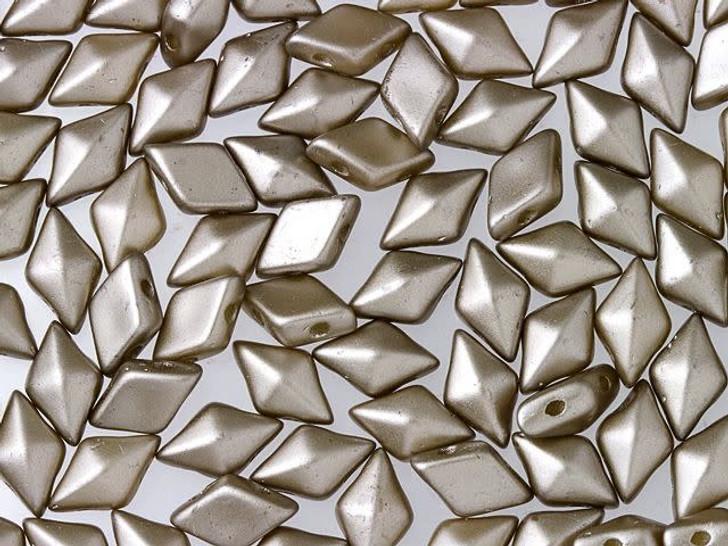 DiamonDuo 5x8mm Cocoa Airy Pearl Czech Glass 2-Hole Bead (10 gram pack)
