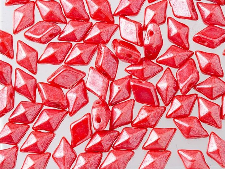 DiamonDuo 5x8mm Coral Shimmer Czech Glass 2-Hole Bead (10 gram pack)
