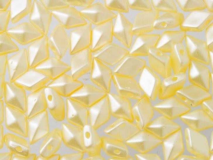 DiamonDuo 5x8mm Cream Airy Pearl Czech Glass 2-Hole Bead (10 gram pack)