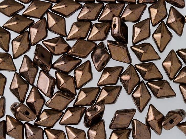 DiamonDuo 5x8mm Dark Bronze Czech Glass 2-Hole Bead (10 gram pack)