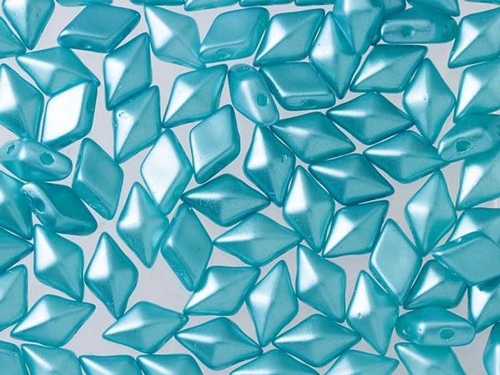 DiamonDuo 5x8mm Pastel Aqua Czech Glass 2-Hole Bead (10 gram pack)