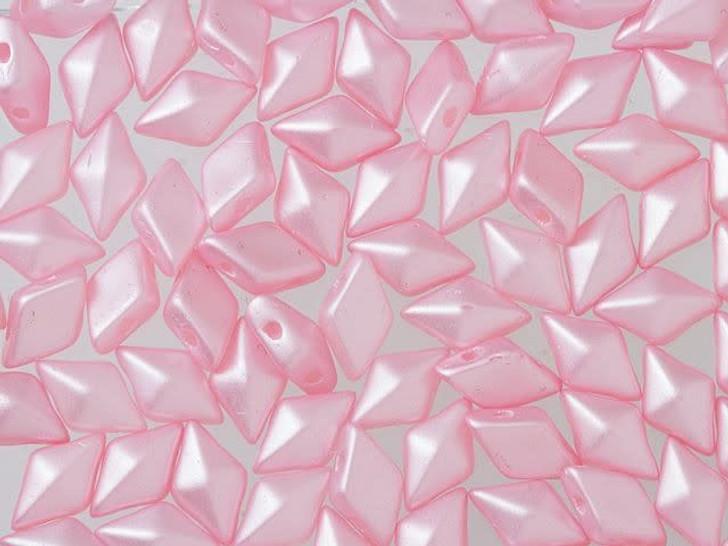 DiamonDuo 5x8mm Pink Airy Pearl Czech Glass 2-Hole Bead (10 gram pack)