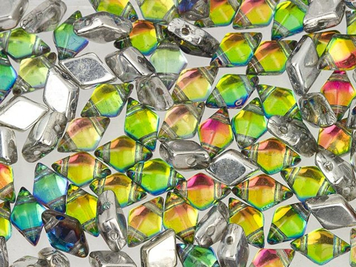 DiamonDuo 5x8mm Prismatic Tropics Czech Glass 2-Hole Bead 2.5-Inch Tube