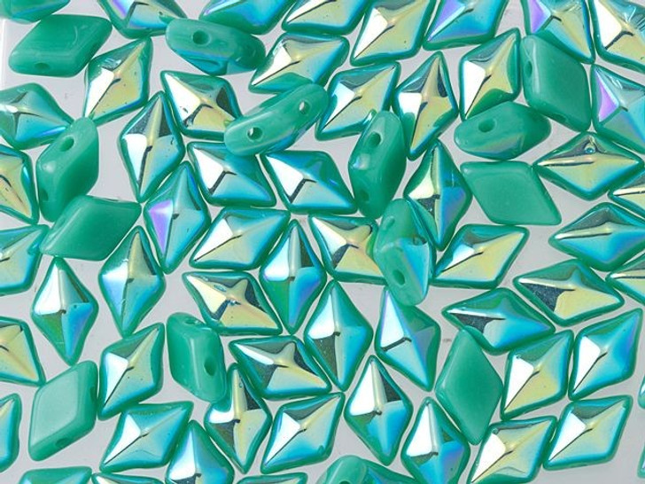 DiamonDuo 5x8mm Turquoise AB Czech Glass 2-Hole Bead (10 gram pack)