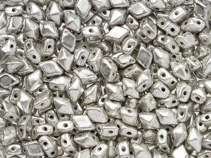 DiamonDuo Mini 4 x 6mm Antique Silver Czech Glass 2-Hole Bead (25 gram pack)