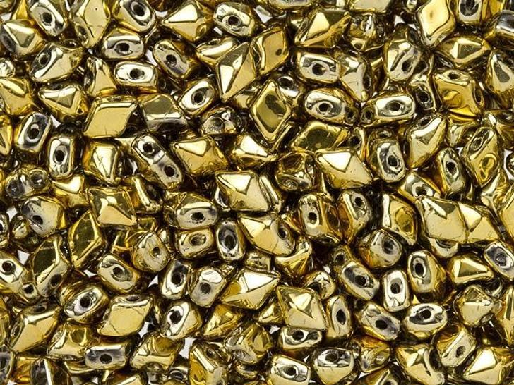 DiamonDuo Mini 4 x 6mm Full Aurum Czech Glass 2-Hole Bead (25 gram pack)