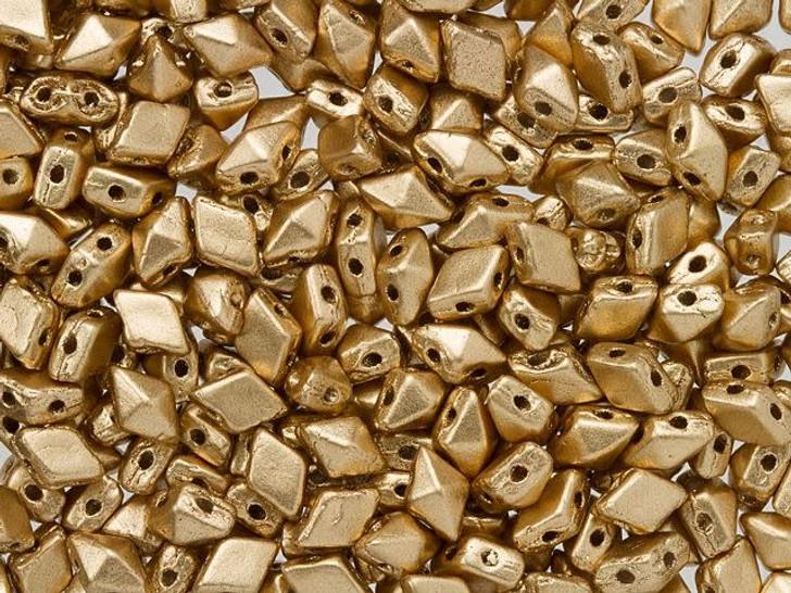 DiamonDuo Mini 4 x 6mm Matte Gold Czech Glass 2-Hole Bead (25 gram pack)