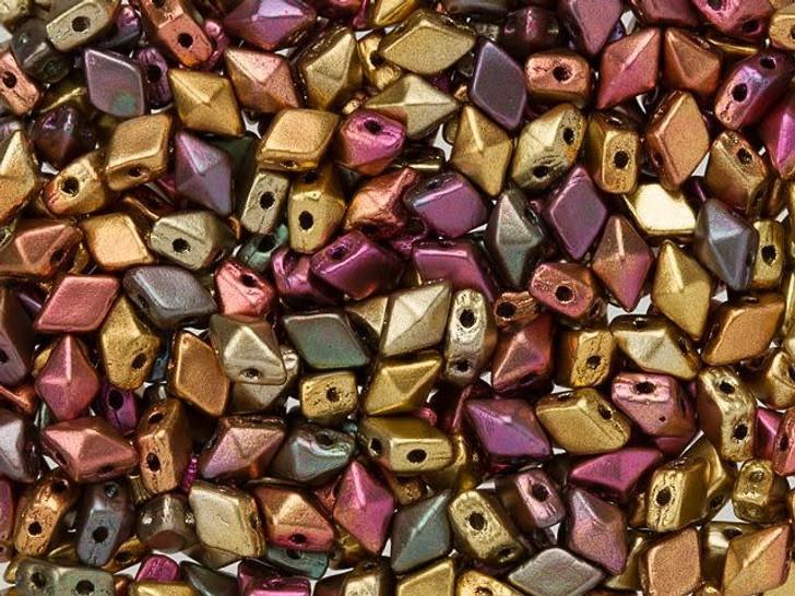 DiamonDuo Mini 4 x 6mm Matte Golden Iris Czech Glass 2-Hole Bead (25 gram pack)