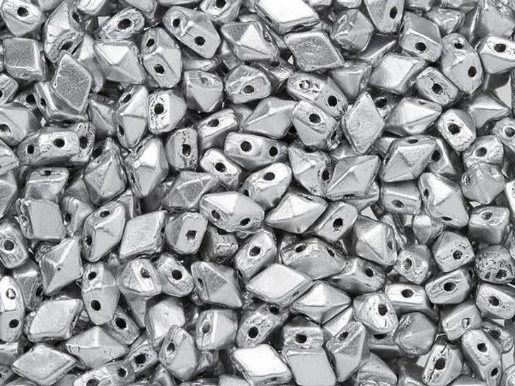 DiamonDuo Mini 4 x 6mm Matte Silver Czech Glass 2-Hole Bead (25 gram pack)