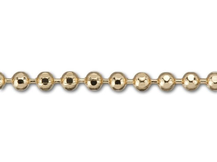 1.5mm Gold-Plated Brass Diamond Cut Ball Chain by the Foot