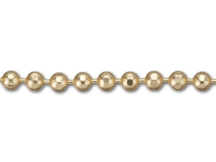 1.5mm Satin Hamilton-Gold Brass Diamond Cut Ball Chain By the Foot
