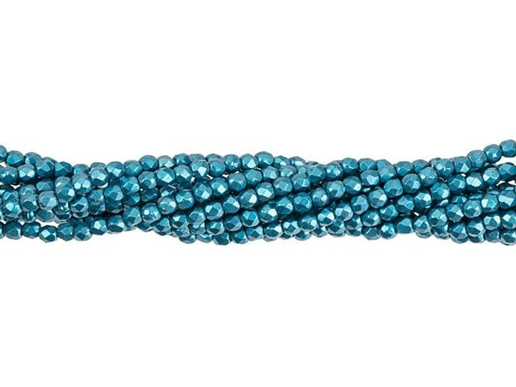 Fire-Polished Bead 2mm ColorTrends Saturated Metallic Quetzal Green (50pc Strand) by Starman