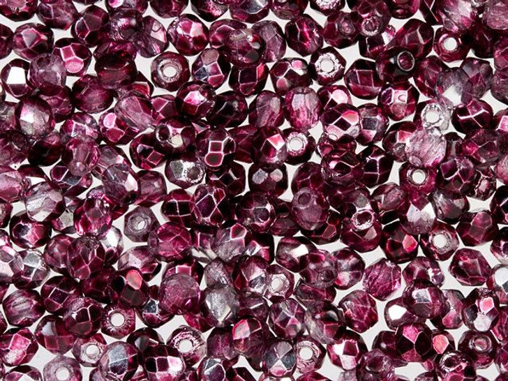 Fire-Polished Bead 2mm Cranberry Mirror (50pc Strand) by Starman