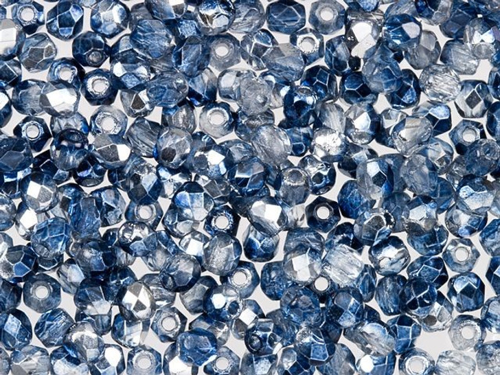 Fire-Polished Bead 2mm Denim Mirror (50pc Strand) by Starman