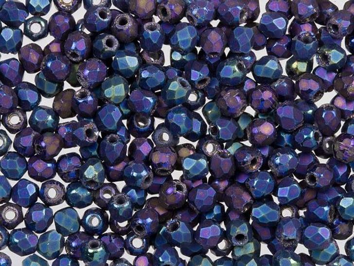 Fire-Polished Bead 2mm Matte Iris Blue (50pc Strand) by Starman