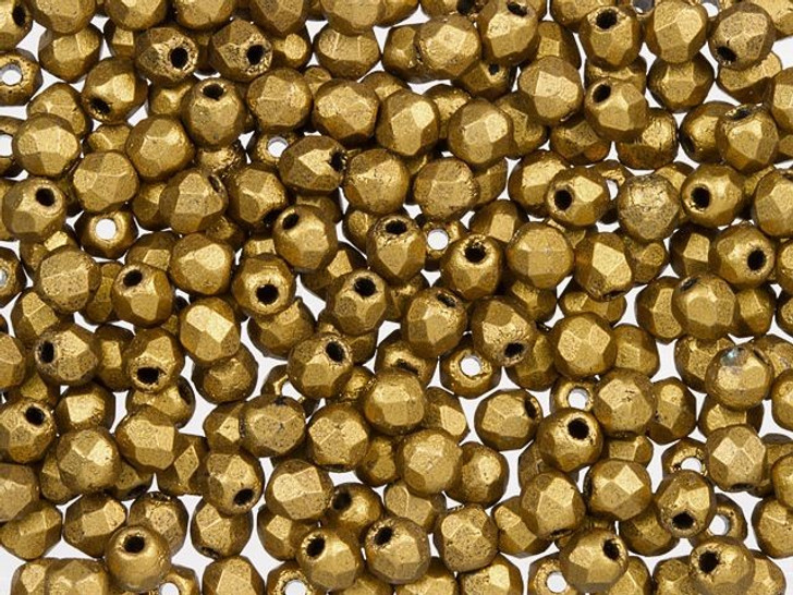 Fire-Polished Bead 2mm Matte Metallic Antique Gold (50pc Strand) by Starman