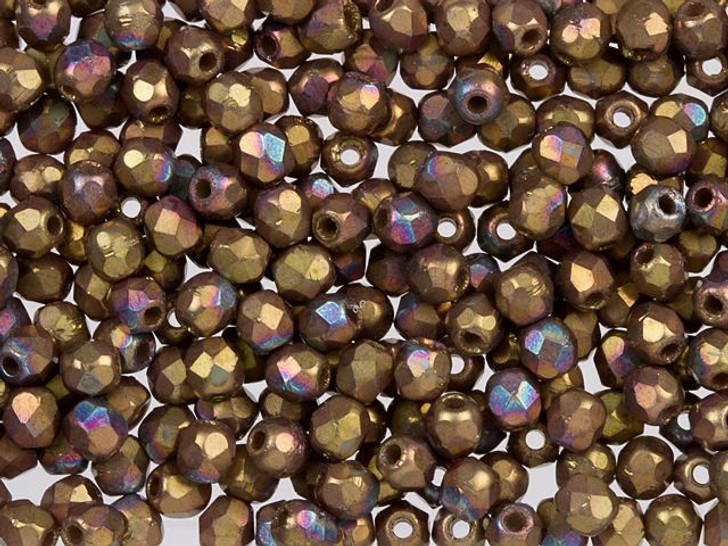 Fire-Polished Bead 2mm Matte Oxidized Bronze Clay (50pc Strand) by Starman
