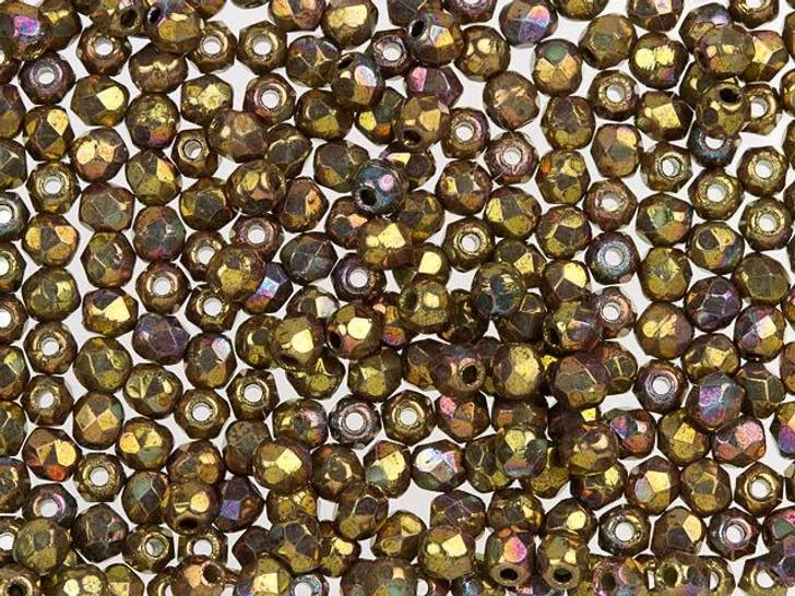 Fire-Polished Bead 2mm Oxidized Bronze Clay (50pc Strand) by Starman