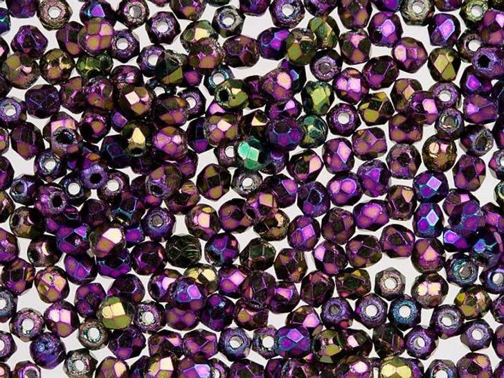 Fire-Polished Bead 2mm Purple Iris (50pc Strand) by Starman