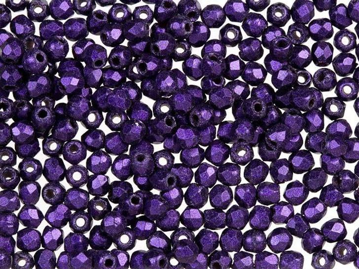 Fire-Polished Bead 2mm Purple Metallic Suede (50pc Strand) by Starman