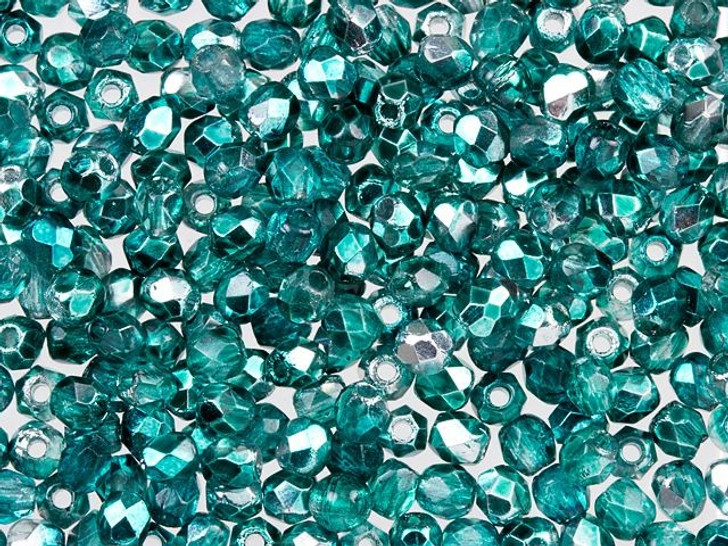 Fire-Polished Bead 2mm Teal Mirror (50pc Strand) by Starman