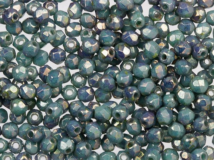 Fire-Polished Bead 2mm Turquoise Bronze Picasso (100pc Pack) by Starman