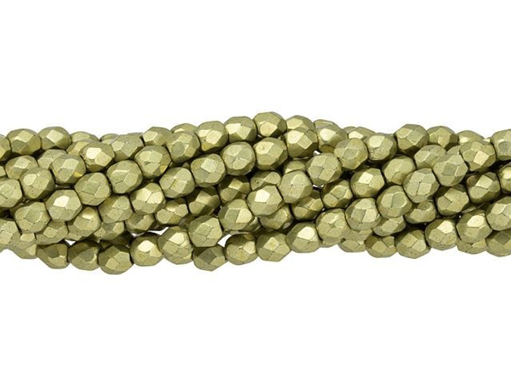Fire-Polished Bead 3mm ColorTrends Saturated Metallic Limelight (50pc Strand) by Starman