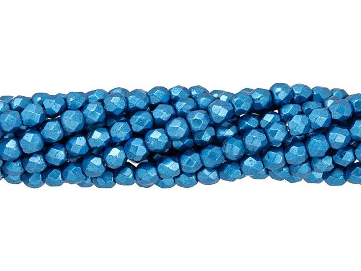 Fire-Polished Bead 3mm ColorTrends Saturated Metallic Nebulas Blue (50pc Strand) by Starman