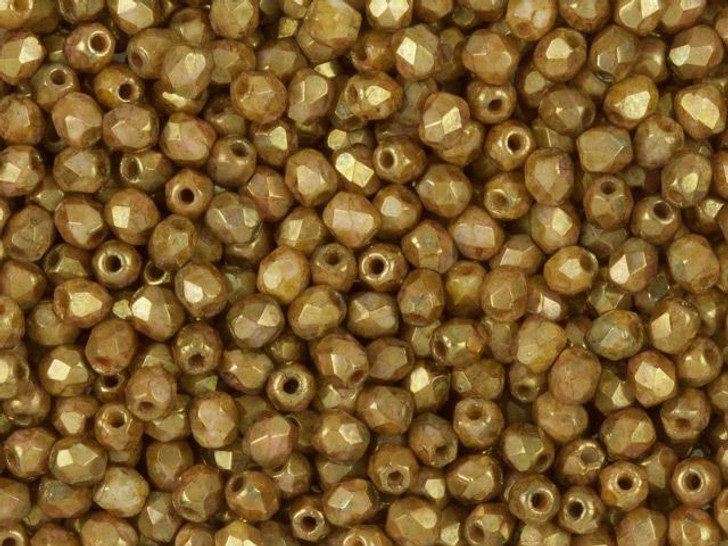 Fire-Polished Bead 3mm Opaque Gold and Smoky Topaz Luster (50pc Strand) by Starman
