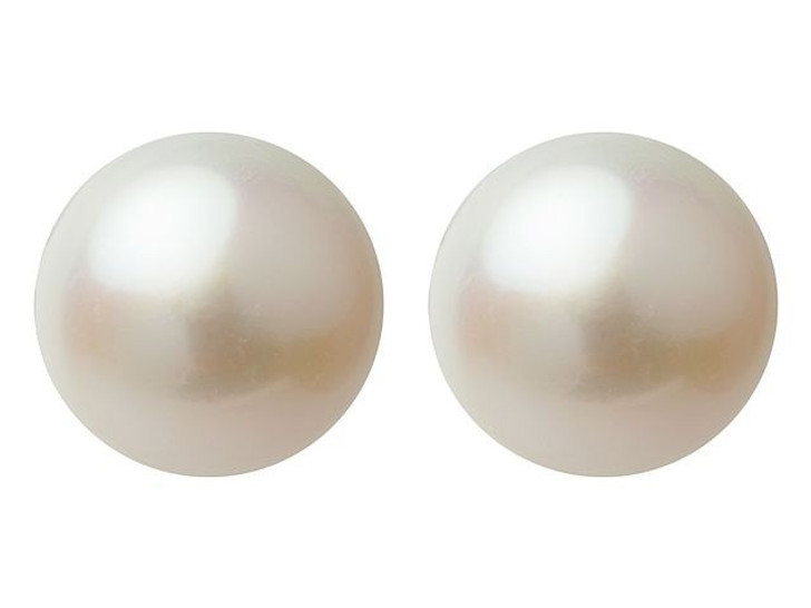 10.5-11mm Half-Drilled Freshwater Pearl Button (Pair)