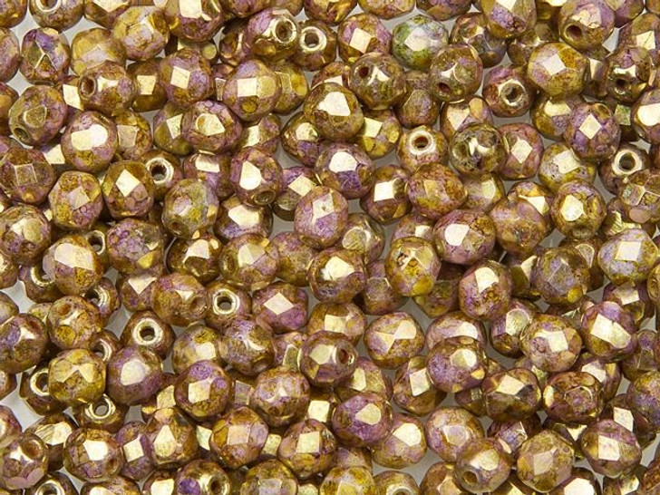 Fire-Polished Bead 4mm Opaque Gold and Smoky Topaz Luster (50pc strand) by Starman