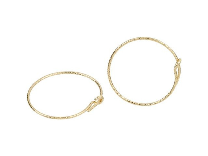 Gold-Filled 14K/20 20mm Sparkle Wire Beading Hoop (Pair)