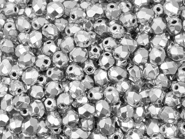 Fire-Polished Bead 4mm Silver (50pc strand) by Starman