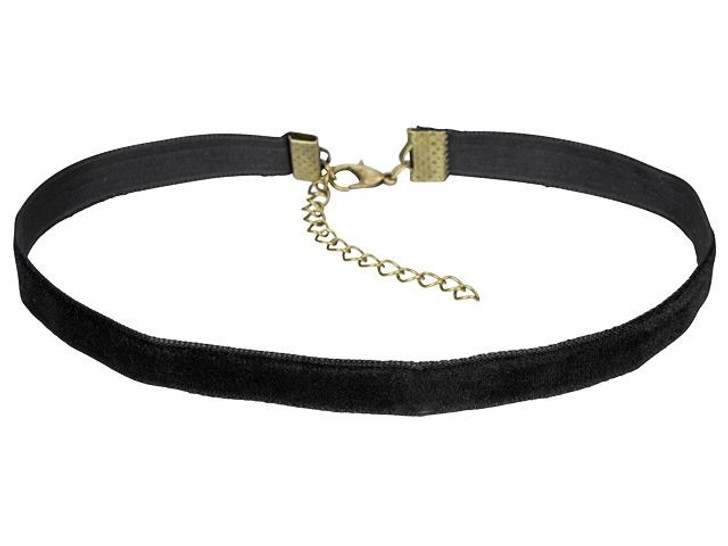 10mm Black Choker with Antique Brass Extender and Lobster Clasp