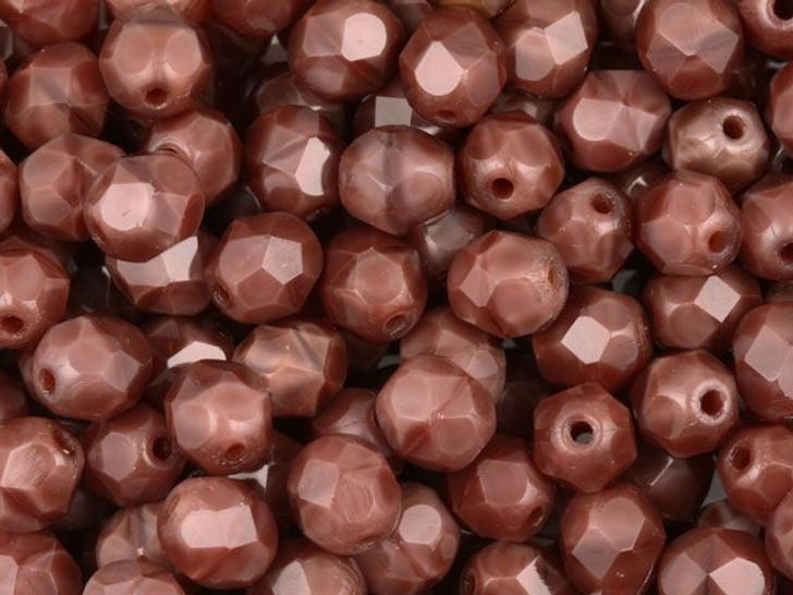 Fire-Polished Bead 6mm Chestnut Coral (25pc Strand) by Starman