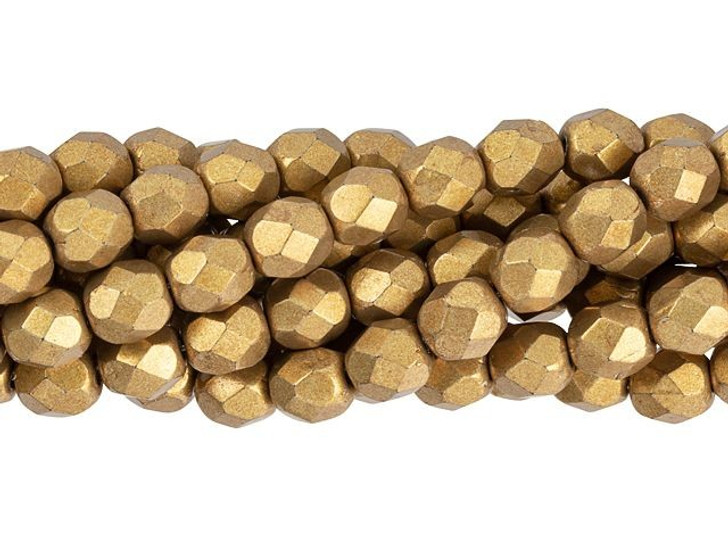 Czech Fire-Polish Bead 6mm ColorTrends Saturated Metallic Ceylon Yellow (25pc Strand) by Starman