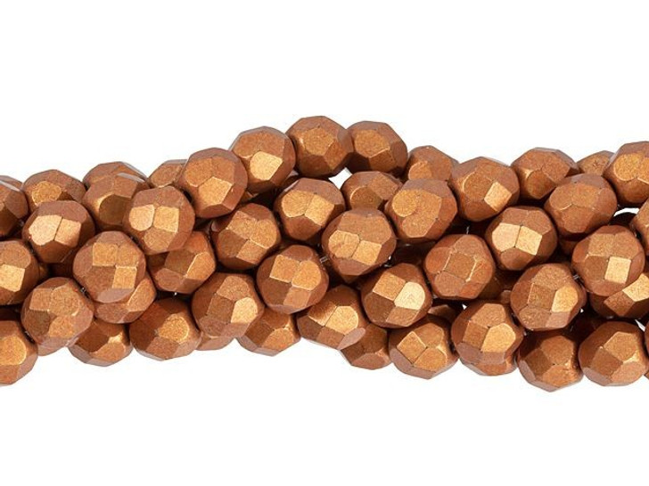Czech Fire-Polish Bead 6mm ColorTrends Saturated Metallic Russet Orange (25pc Strand) by Starman