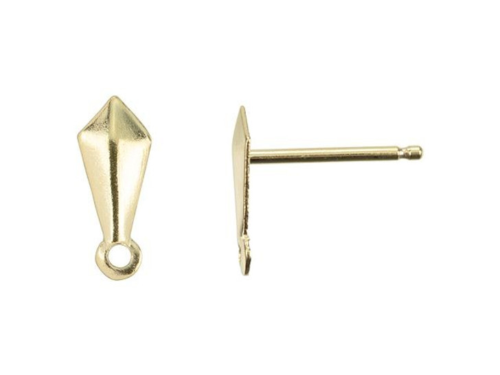 Gold-Filled 14K/20 3 x 7mm Kite Post Earring with Ring (Pair)