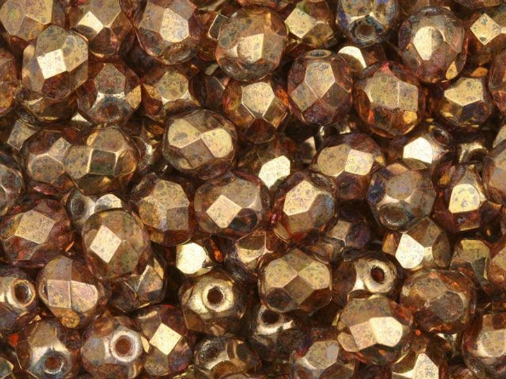 Fire-Polished Bead 6mm Gold and Smoky Topaz Luster (25pc Strand) by Starman