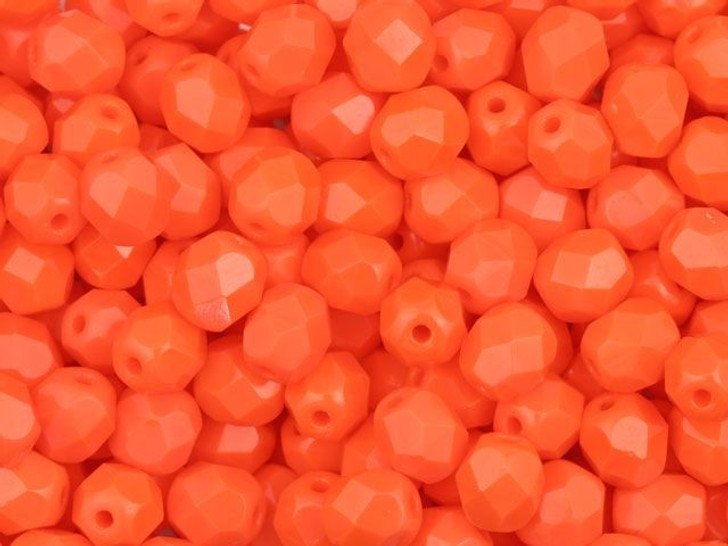 Fire-Polished Bead 6mm Opaque Bright Orange (25pc Strand) by Starman