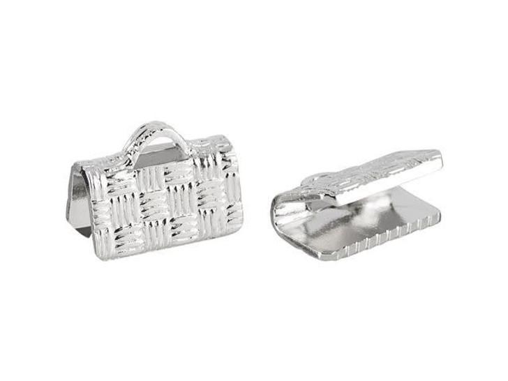 10mm Silver-Plated Basket Weave Ribbon End Crimp (2-Piece Pack)