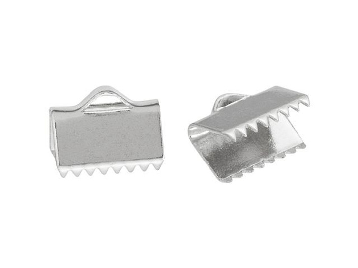 10mm Silver-Plated Ribbon Crimp End (2-Piece Pack)