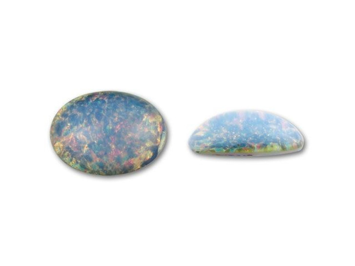 10x14mm Oval Glass Cabochon - Blue Opal