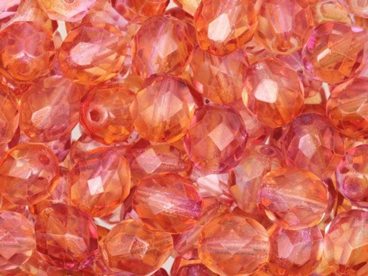 Fire-Polished Bead 8mm Sunset (25pc Strand) by Starman