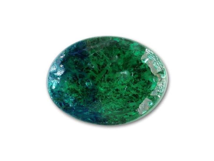 10x14mm Oval Glass Cabochon - Green Opal