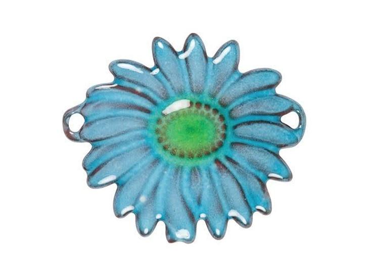 Gardanne Beads Aqua English Daisy with Lime Center Link