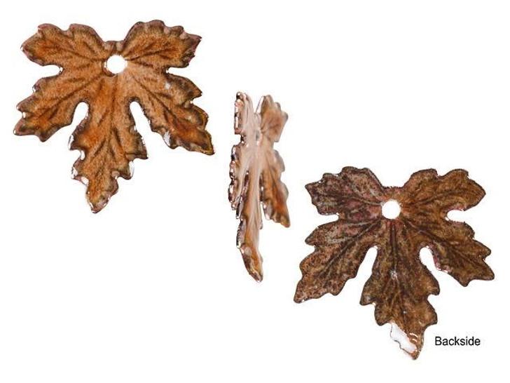 Gardanne Beads Autumn Enameled Brass Maple Leaf Charm