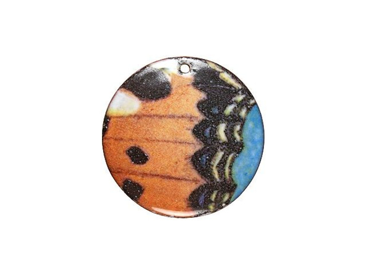 Gardanne Beads Butterfly Wing Enameled Brass Round Pendant