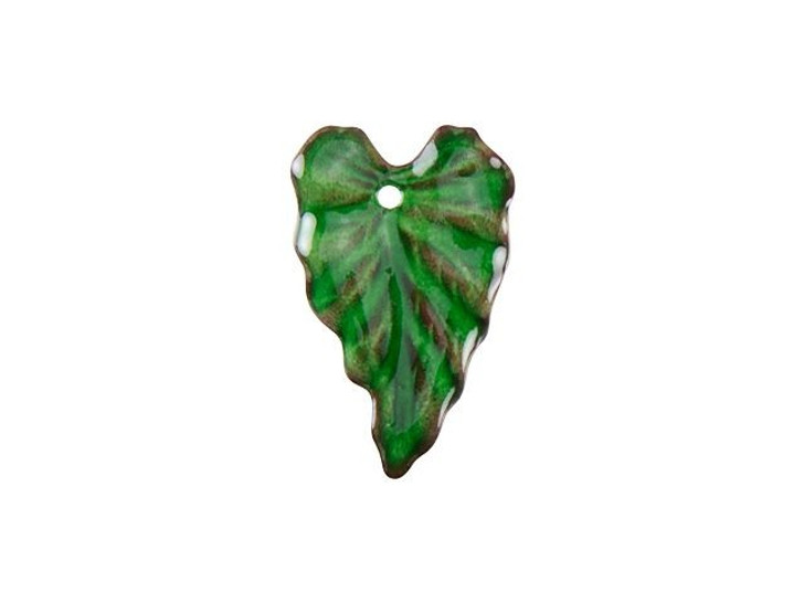 Gardanne Beads Emerald Enameled Brass Ivy Leaf Charm (Right)
