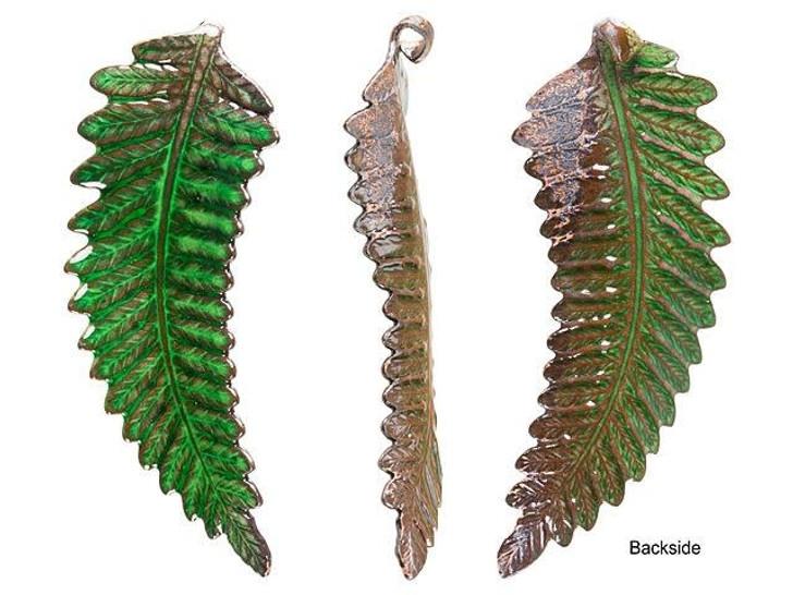 Gardanne Beads Emerald Enameled Brass Lady Fern Pendant